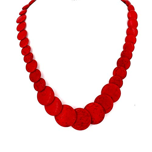 Fashion Jewelry Girls Natural Stone Simple Collar Statement Necklace for Women (Red)