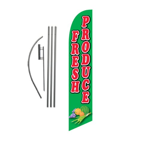 Fresh Produce 15ft Feather Banner Swooper Flag Kit - INCLUDES 15FT POLE KIT w/ GROUND (Swooper Banner)