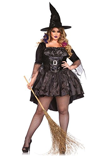 Leg Avenue Women's Plus-Size 2 Piece Black Magic Mistress Witch Costume, Black, 1X (Sexy Plus Size Costume)