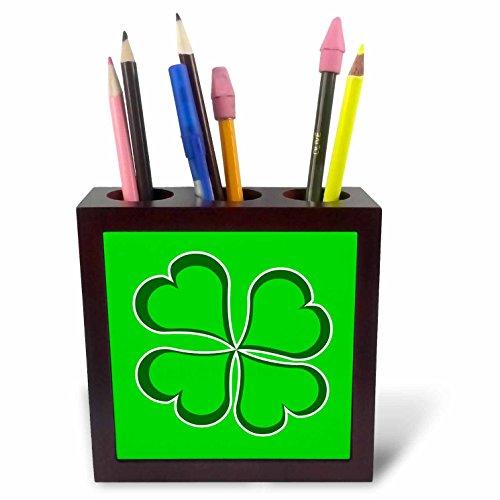 (3dRose ph_77560_1 Lucky Green Four Leaf Clover-Tile Pen Holder, 5-Inch)