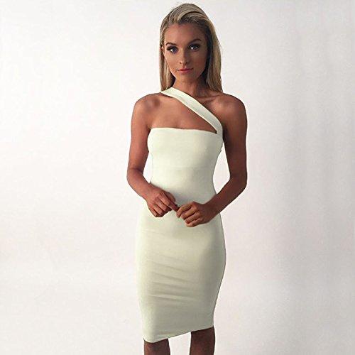 Weisse Brust Gewickelt Schultergurt Hip Kleid L Amazon De Sport