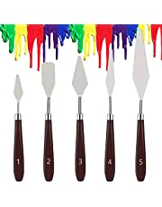 Dadanism 5 Pieces Painting Knives Thin & Flexible Stainless Steel Palette Knife Set Oil Painting Metal Knives Color Mixing Scraper Painting Art Spatula Palette Knife Tools - Reddish Brown