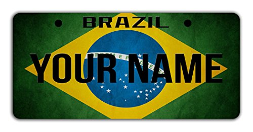 (BleuReign(TM Personalized Custom Name License Brazil Flag Plate Bicycle Bike Moped Golf Cart 3