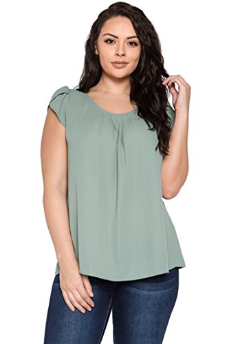 Cap Sleeve Bubble - Bubble B Women's Plus Size Round Neck Pleated Top with Cap Sleeves Sage 3XL