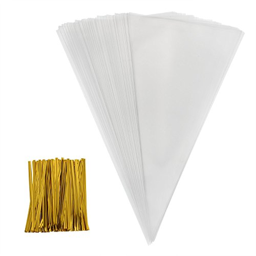 Outus 100 Piece Medium Transparent Cone Bags Clear Cello Bags Sweets Treat Bags with 100 Piece Gold Twist Ties, 11.8 by 6.3 Inch