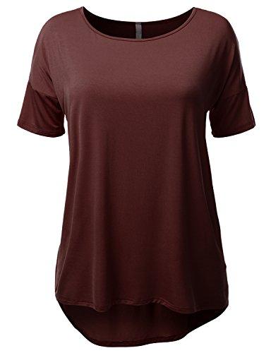 SJSP Plus Womens Short Sleeve Rayon Shirt Plus Size Brown XL