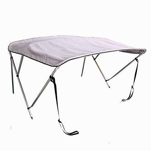 X-Haibei 3 Bow Bimini Top Boat Tent Cover with Rear Support Pole and Storage Boot 600D UV Waterproof Aluminum Frame (Light grey, 6'L x 46