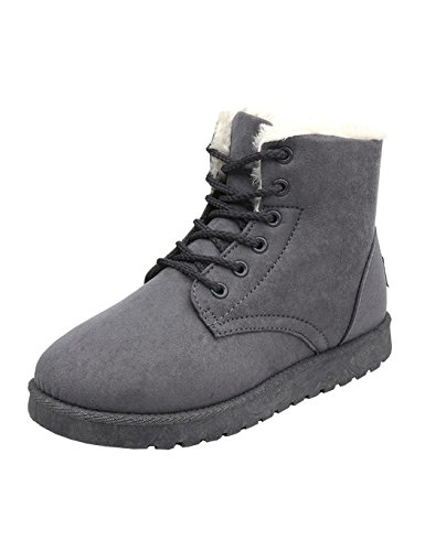 PEATAO Faux Shearling Fur Lined Low Heel Ankle Booties Girls Snow Boots Warm Sneakers (Grey, (Lined Low Heel Heels)
