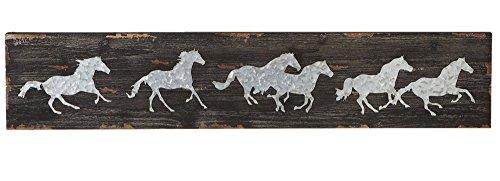 Galvanized Running Horses Rectangular Wooden Wall Art Décor Board, 40