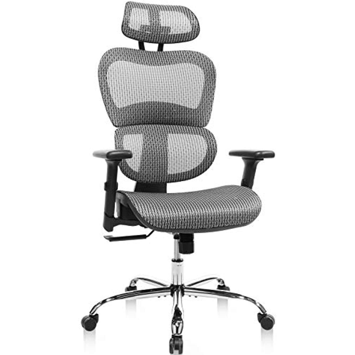 Home Office Chair Mesh Ergonomic Computer Chair with 3D Adjustable Armrests Desk Chair High Back Technical Task Chair - Grey