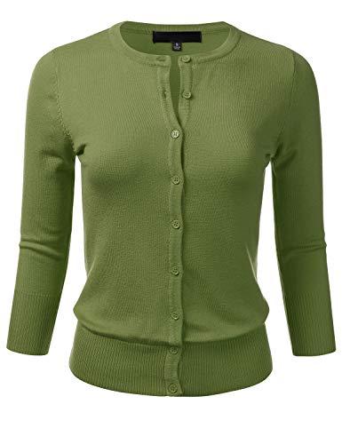 (Women's Button Down 3/4 Sleeve Crew Neck Knit Cardigan Sweater SAGE)