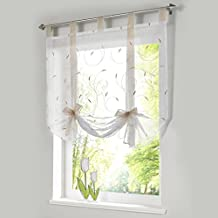 """1pcs Roman Curtain Embroidered Bowknot Sheer Kitchen Window Curtain H*W 55*31"""" Sand"""