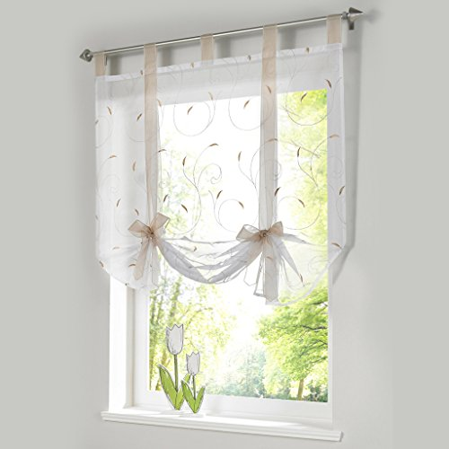 ISINO 1 Piece Tab Top Ribbon Tie Up Embroidered Curtain Sheer Voile Balloon Shades W 39