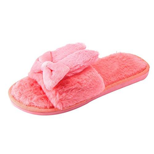 Ama (tm) Les Femmes Ouvrent Lorteil Doux En Peluche Pantoufles Dintérieur À La Maison Anti-dérapant Chaussures Rouge