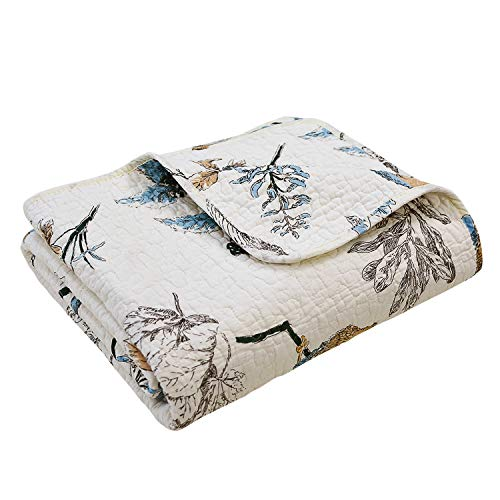 Brandream American Country Quilted Throw Blanket Cotton Birds Printing Throw Quilt 47 X 60 Inch, Beige (Shabby Chic Quilted Throw)