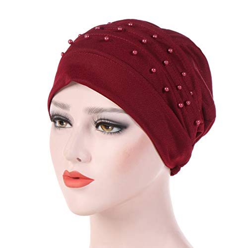 (Fashion Solid Color Beads Decor Women's Muslim Hijab Turban Head Wrap Hat Cap - Wine)