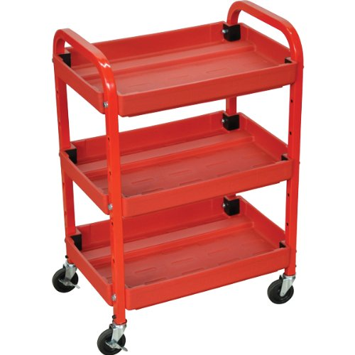 Compact Cart Utility Adjustable (Luxor Compact Adjustable Height 3 Shelves Utility Cart - Red)