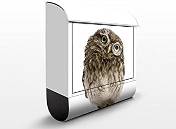 Design Letter Box Curious Owl Dimensions:46cm x 39cm 39x46x13cm Mailbox Postbox Letter Slot Letter Box Decor Foil