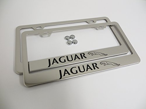 2 Pieces Jaguar Stainless Steel Chrome License Plate Frame Tag Holder with Screw Cap Covers by Deepro