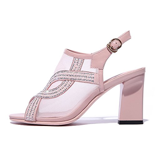AllhqFashion Womens Soft Material Buckle Open Toe High-Heels Solid Sandals Pink 0snPf7O9ge