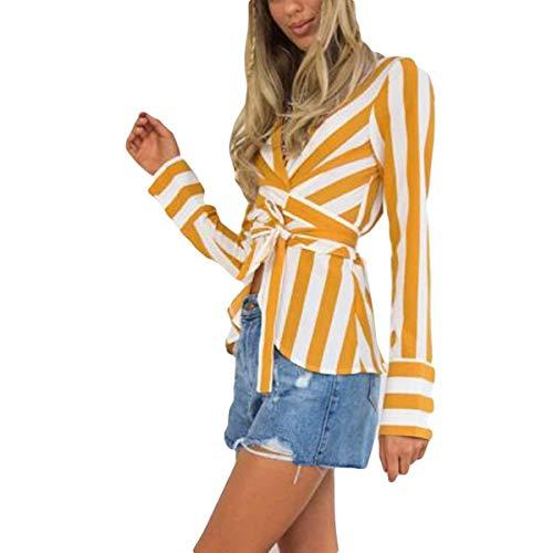 V cuello ZFFde Blusa mujer manga para V V estampado en cuello y en y con tamaño con White rayas con a Invierno en L Color Blusa larga cuello qPgwxXPr6
