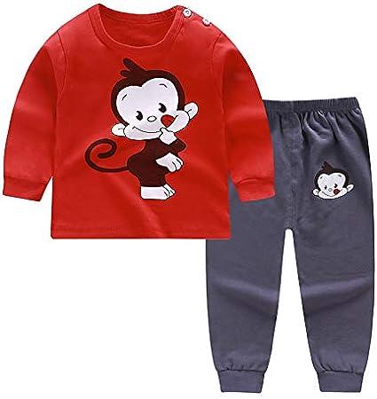 طقم بيجامات للاطفال من اتش هوبي، ملابس نوم قطنية للاطفال الكبار، طقم من قطعة علوية قطنية + بنطلون للاولاد والبنات