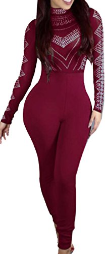 [Papijam Womens Long Sleeve Clubwear Bodycon Stretch Jumpsuits Pants Wine red X-Small] (Stretch Jumpsuit)