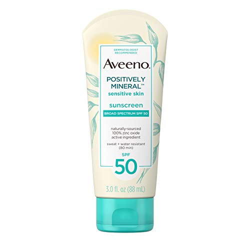 Aveeno Positively Mineral Sensitive Skin Daily Sunscreen Lotion with SPF 50 & 100% Zinc Oxide, Non-Greasy, Sweat- & Water-Resistant Sheer Sunscreen for Face & Body, Travel-Size, 3 fl. oz
