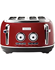 Haden DORSET 4 Slice, Wide Slot, Stainless Steel Retro Toaster with Removable Crumb Tray, Adjustable Browning Control and Cancel, Defrost and Reheat Settings in Retro Red