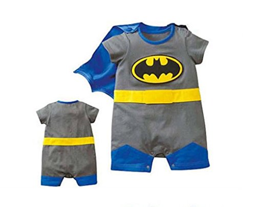 Rush Dance One Piece Super Hero Baby Batman Batbaby Romper Onesie Cape Suit (95 (18-24M), Batman)