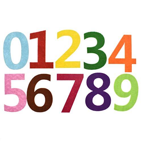 (Towashine 10pcs Number 0-9 Felt Cloth Fabric Assorted Colors Sewing Crafts Felt Letter Board)