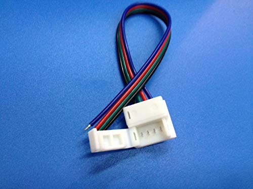 Gimax [Seven Neon] 10mm FPBC 4pin IP65 waterproof silicone 5050 SMD RGB strip light connector cable+one clip - (Color: 100Pieces per lot)