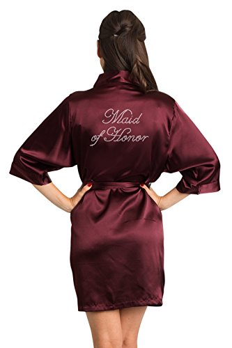 Zynotti Women's Rhinestone Maid of Honor Bridal Party Getting Ready Wedding Kimono Wine Satin Robe - S/M -