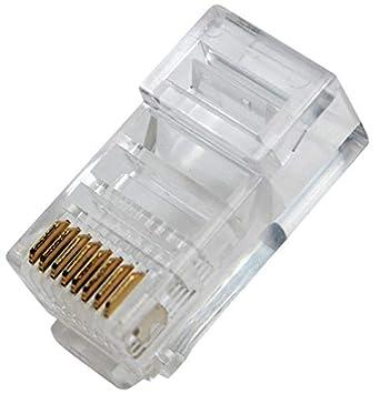 odedo 50 Unidades RJ45 8P8 C Crimp Conector Cable Plano Modular Conector de Red Macho, Modular Plug Flat Cable: Amazon.es: Informática