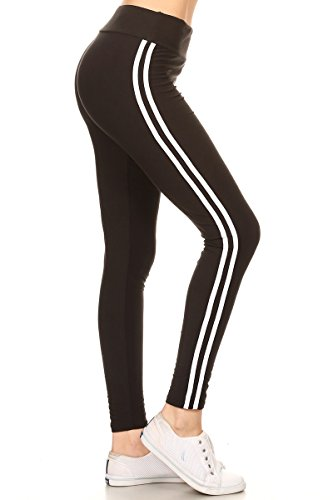 LIIR128-BLACK Lined Yoga Solid Leggings, One Size