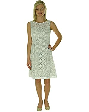 Womens Petites Eyelet Pleated Cocktail Dress