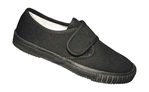 Childrens Sport Noir Tennis Gym Chaussures Mirak De Enfants Velcro Plimsolls aYxq4H5Tw