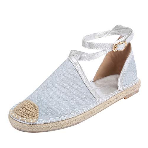 c269b5509bca ANJUNIE Elastic Flat Sandals Vintage Women Summer Peep Toe Beach Breathable  Zipper Rome Shoes(9-Silver,35=US: 5)