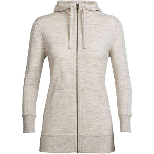 - Icebreaker Merino Women's Dia Long Sleeve Zip Hood Athletic Sweaters, X-Small, Fawn Heather