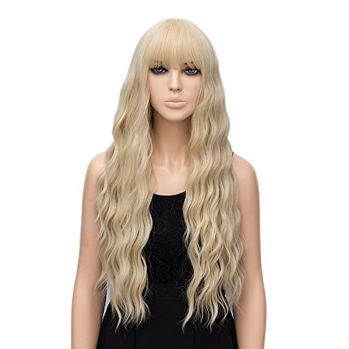 - netgo Women's Golden Blonde Wigs Long Fluffy Curly Wavy Hair Wigs for Girl Heat Friendly Synthetic Cosplay Halloween Party Wigs