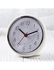 JIBANG Waterproof Clock, Bathroom Waterproof Clock, 3 Strong Suction Cups securely Mounted to Mirror Tiled Glass, Silent Non-Ticking Clocks It can Also be Placed on The Desk (4 Inch, White)
