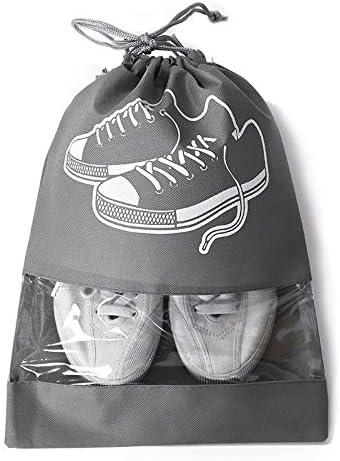 トラべラブ圧縮バッグ 男性と女性のための透明なスロットが付いている旅行靴袋の大きい非編まれたドローストリングの靴の収納袋 トラベルポーチ 出張 旅行 便利グッズ (Color : Gray, Size : M)