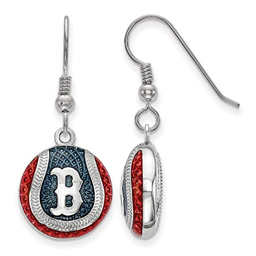 (MLB Boston Red Sox Sterling Silver Boston Red Sox Enameled Baseball Dangle Earrings Size One Size)