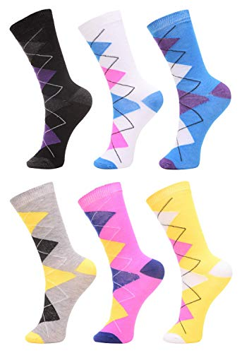 6 Pack of of Womens Girls Crew Socks Funny Novelty Colorful Cute Patterned Casual Socks, Argyle