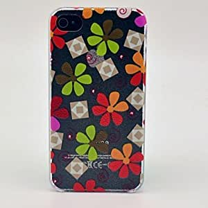 TOPAA Varicolored Flowers Pattern Hard Cover Case for iPhone 4/4S
