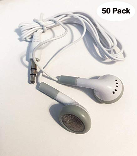 BULK WHOLESALE Lot of 50 WHITE/GRAY 3.5mm In Ear Earbuds / Headphones / Earphones GREAT For Schools, Libraries, Hospitals, Kids etc.