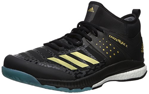 super popular bb8d3 9a100 adidas Mens Crazyflight X Mid Volleyball Shoes Core Black, Gold Met, Icey  Blue F17 (11 M US)