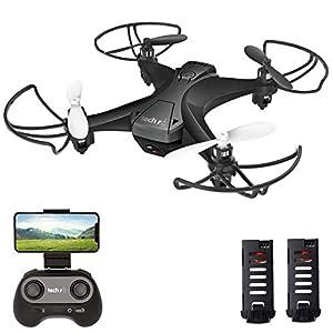 tech rc Drone avec Caméra HD, Drone Caméra Temps de Vol de 20 Minutes, 360°Flips, 2 Batteries, Mode sans Tête, Maintien…