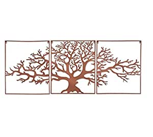 3 piece oak tree metal wall decor home kitchen. Black Bedroom Furniture Sets. Home Design Ideas