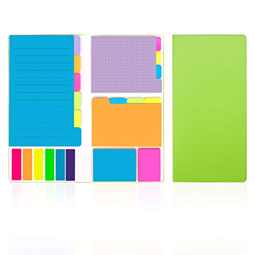 Colored Divider Sticky Notes Bundle Set by LE Papillion (386pcs),Prioritize with Color Coding - 60 Ruled Lined (3.8x5.9), 48 Dotted (3x3.8), 48 Blank(2.6x3.8), 40 Orange & Pink,150 Index Tabs - Green -  LE PAPILLION JEWELRY, S-N-3